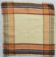 Vintage Handkerchief SILK Hankie Mens Top Pocket Square CREAM BROWN