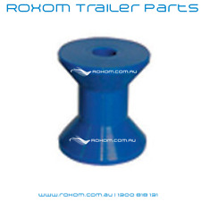 """Boat Trailer Bow Roller 4"""". Blue Poly Plastic. 100mm Winch Roller. 17mm Bore."""