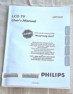 PHILIPS 23PF5320 LCD TV User's Manual Instructions Book