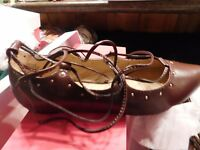 """Shoes Womens Just fab """"Kinley"""" Size 9 Lace up Ballet Burgandy BRAND NEW Box"""