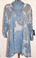 Ladies Italian Tunic Long Top Floral Print Denim Blue Lagenlook Size18 20 22 24