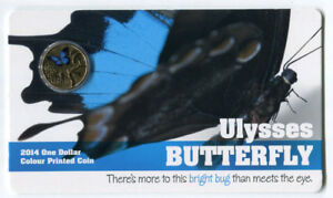"""2014 $1 Uncirculated Coin - Bright Bug: """"Ulysses Butterfly."""""""