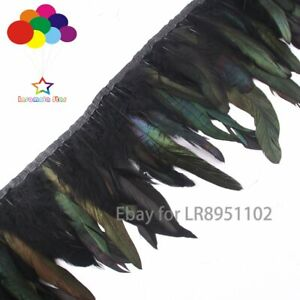 10 Meter dyeing Black rooster feathers fringe skirt trims 15-20 cm plumas Crafts