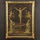 Antico quadro religioso dipinto olio su tela arte sacra crocifissione cristo 700
