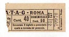 BIGLIETTO TRAMVIA  ELETTRICA  ATAG  ROMA  CM  40  DOMENICALE  CM  50
