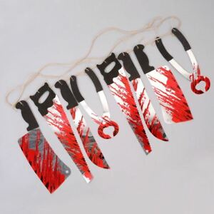 Halloween Bloody Weapon Party Decorations Props Scary Garland Bloody Bunting
