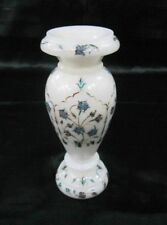"7"" Marble Flower Vase Handmade Decorative Semi Precious Stone Inlay Home Decor"