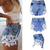 Women's Summer High Waist Tassel Hole Shorts Jeans Denim Lace Detail Short Pants