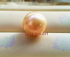 Australia Top round natural real gold pink 14-15MM LOOSE SOUTH SEA PEARL pendant