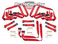 Ford Front + Rear Seat Belt Kit x6 BENCH Red XK XL XM XP XR XT XW XY XA XB XC