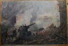 Russian Ukrainian Soviet oil painting military soldier fight gun Berlin WW2 1952