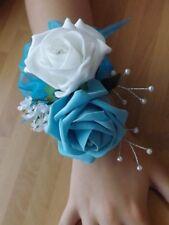 Wedding flowers wrist corsage white/turquoise rose & button hole white rose