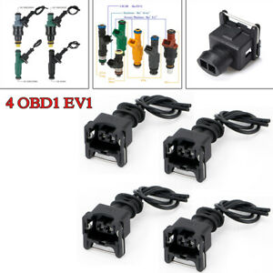 4PCS Car Fuel Adapter Connector Wiring Plugs Clips Kit for EV1 Fuel Injectors