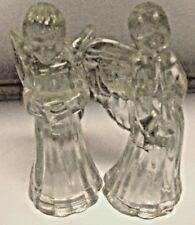 2 Heavy Cut Glass Angel Candle holders Sticks