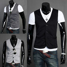 Button Cotton Blend Waistcoats for Men