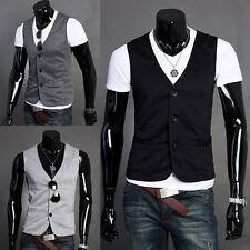 Button Cotton Blend Casual Waistcoats for Men