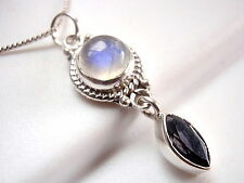Faceted Iolite & Moonstone Pendant 925 Sterling Silver Rope Style Accents New