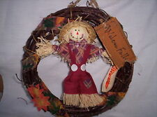 """Wreath Autumn Fall Thanksgiving Grapevine Boy 6"""" T Scare Crow Doll  RedPants New"""