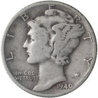 1940 Mercury Dime 90% Silver Very Good VG