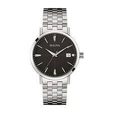 Bulova Men's 96B244 Classic Black Dial with Date Stainless Steel Watch