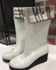 Sperry Top Sider White Flannel Wedge Rubber Rain Boots Size 7 M