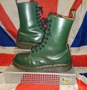 England Vintage*Classic Bottle Green 10 Eyelet Dr Doc Martens*Skin Punk Goth*5