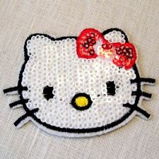 ÉCUSSON PATCH THERMOCOLLANT, Tête Chat Kitty, sequin Blanc noeud rouge, 7 x 5 cm