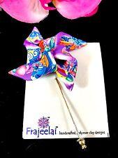 Polymer Clay Pinwheel Stick Pin Nwt Designer Lynne Manning Frajeelai Handcrafted
