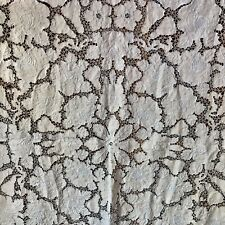 Square Vintage Antique Tablecloth  Madeira LACE Embroidery CUTWORK Pears & Roses