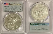 2016 W BURNISHED SILVER AMERICAN EAGLE PCGS SP70 FLAG FDI FIRST DAY OF ISSUE