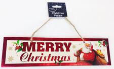 Buon Natale Appeso segno PLACCHE festosa Babbo Natale Carino Porta Di Casa Decorazione da parete
