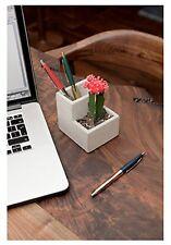 Schreibtisch Stifteköcher mit Blumentopf / Massiv Beton / Köcher  Pflanzbehälter