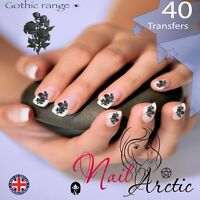 40 x Nail Art Water Transfers Stickers Wraps Decals Gothic Rose Black