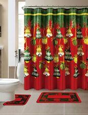 15 Piece Merry Christmas Jingle Bells Theme shower curtain Set