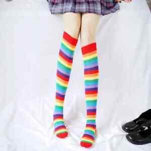 2 Pairs Lady Rainbow Striped Over The Knee Leg Socks Lolita Boot Stockings Warm