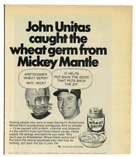 MICKEY MANTLE Yankees ~ Pair of 1971 Ads w/ Unitas, Pancho Gonzales