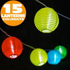 Catena Luminosa 30 Led 15 Lanterne Sfere Illuminazione Giardino Feste Party