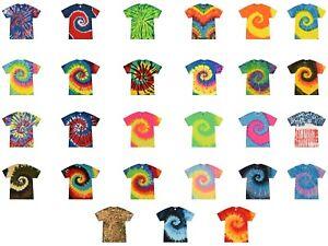 Multi-Color Tie Dye T-Shirts, Youth XS, S, M, L, Cotton, Short Sleeve,Colortone