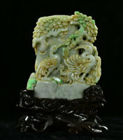 China Natural Emerald Green Jade Jadeit Kiefer Kran Pinsel Topf Bleistift Vase