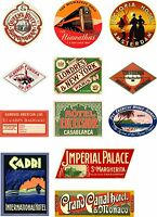 Vintage Style Travel Suitcase Luggage Labels Set Of 12 vinyl stickers set 2
