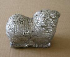 Cambodge anc. boite à chaux pr bétel en argent LION Cambodia lime silver box