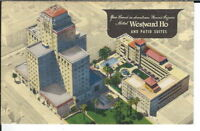 CB-131 AZ, Phoenix Hotel Westward Ho and Patio Suites Linen Postcard Aerial View
