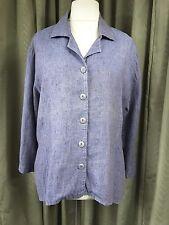 Flax by Jeanne Engelhart 100% Linen Blue Shirt Jacket - Large UK14-18 EU42-46