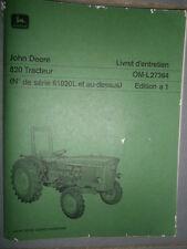 John Deere tracteur 820 : livret d'entretien A1
