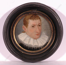 "Lorenz Strauch ""Portrait of a Young Man"" Important Oil on Copper Miniature! 1592"
