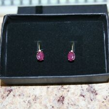 Oval Ruby Diamond Leverback Dangle Earrings 2 Carats 14k Yellow Gold Over 925 SS