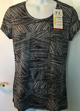 Under Armour Women's Flyweight Mesh Printed Black PRINT T Shirt 1240268 Large