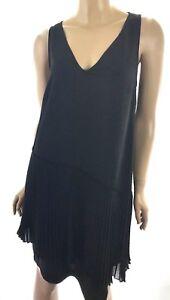 Derek Lam 10 Crosby New Sz 8 Black Dress Drop Waist V-Neck Sleeveless MSRP $225