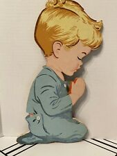 "Vintage 1958 ""The Dolly Toy Co."" Praying Boy Cardboard Wall Plaque"