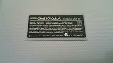 Nintendo Game Boy Color Replacement Model Info Sticker for US POKEMON Console